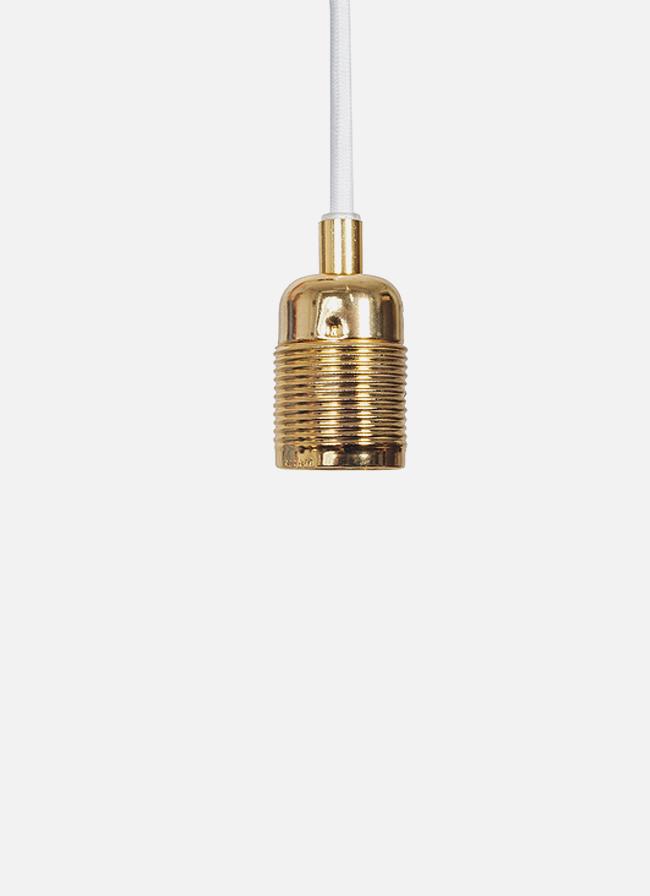 Frama – E27 Pendant – white cord/brass