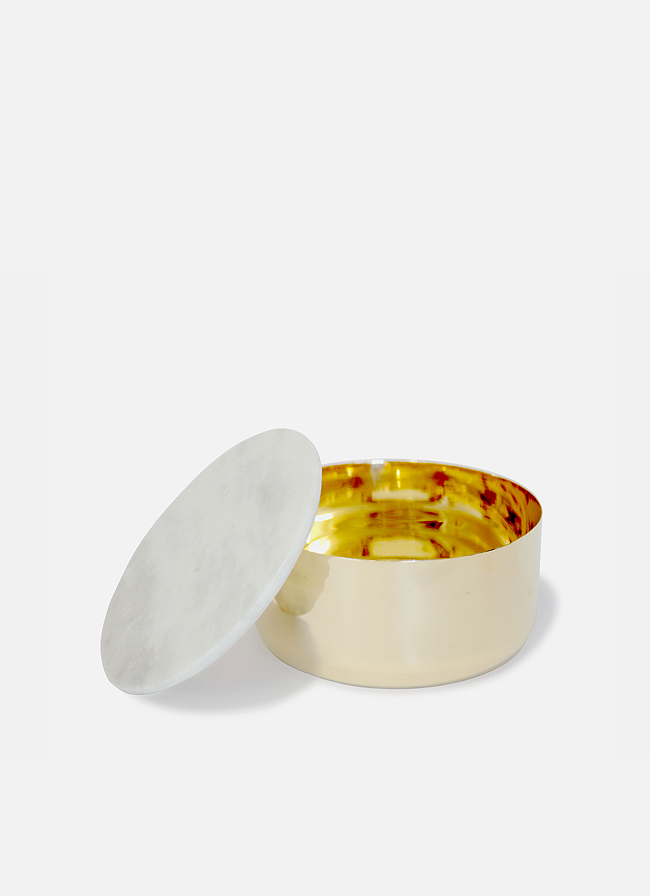 Brass Container with Marble Lid