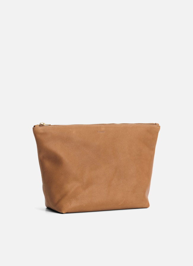 Leather Large Stash Clutch – Saddle