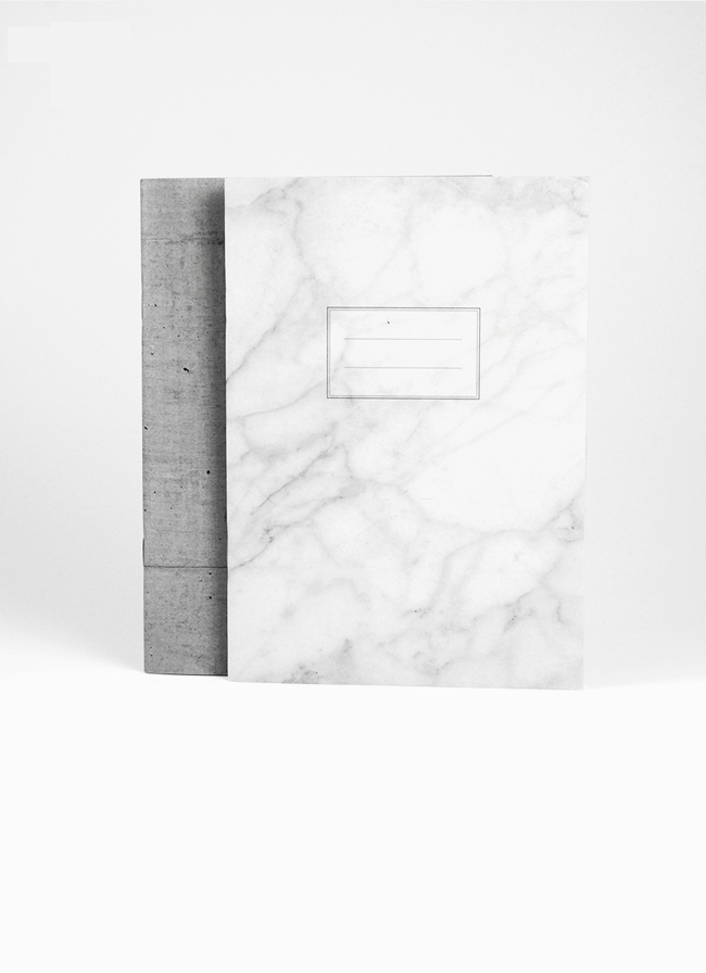 Studio of Basic Design – Set of 2 x A5 Notebooks – White Marble + Concrete