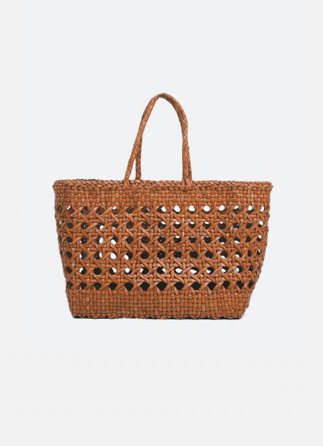 Leather Wicker Bag Cannage Large