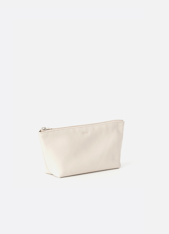 Leather Cosmetic Pouch - Stone