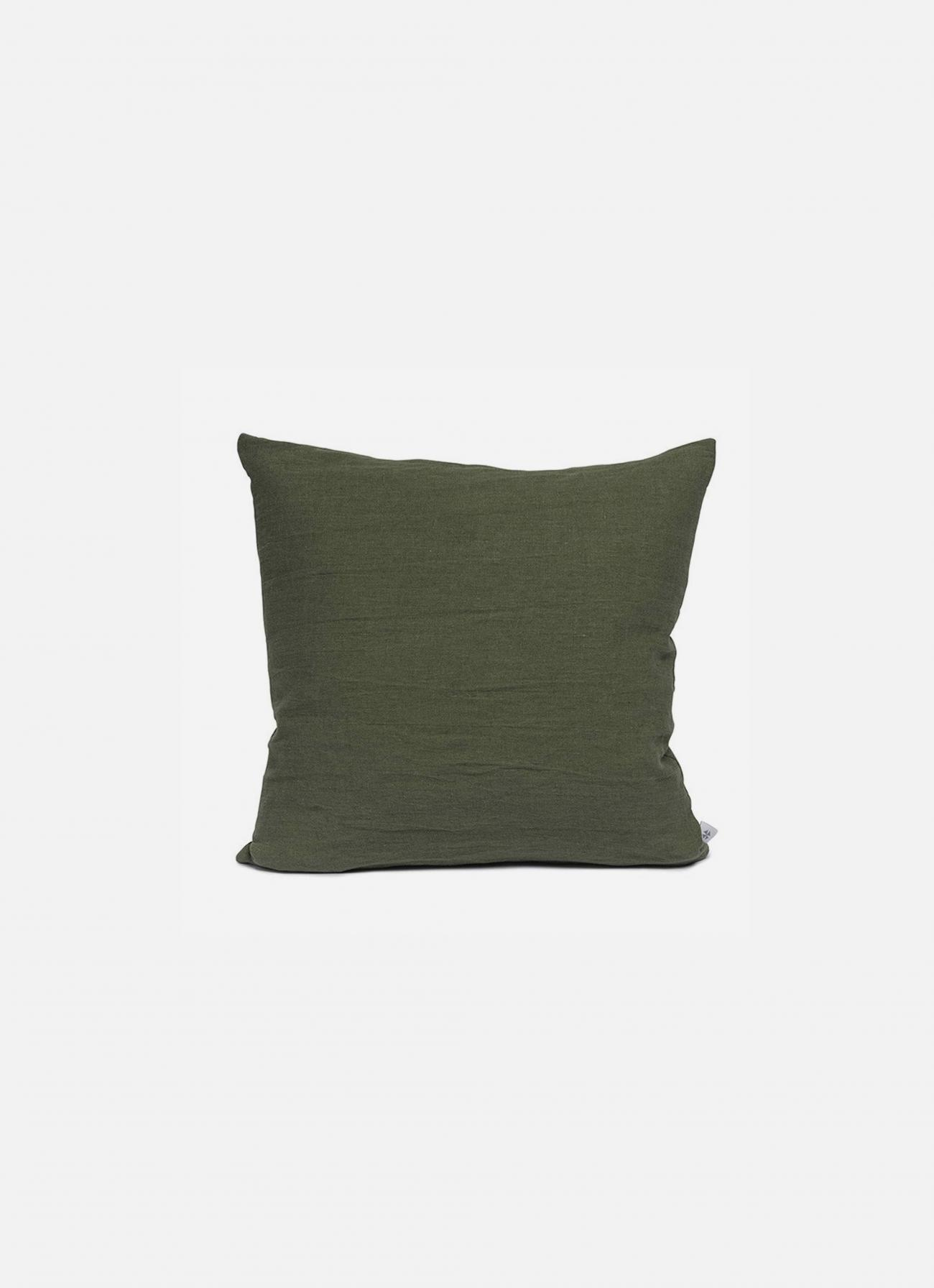 By Mölle - Linen cushion - moss green - 50x50cm